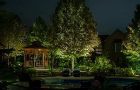 backyard estate - pool, gazebo, lighting